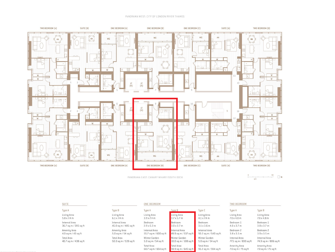 Floorplan of Landmark Pinnacle, South Quay, Canary Wharf, London, E14 9AB